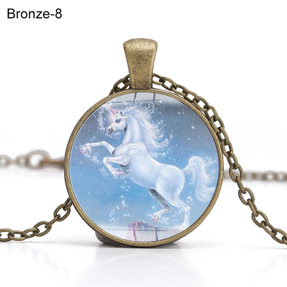 Vintage Unicorn Glass Cabochon Chain Round Pendant Necklace Jewelry Gift