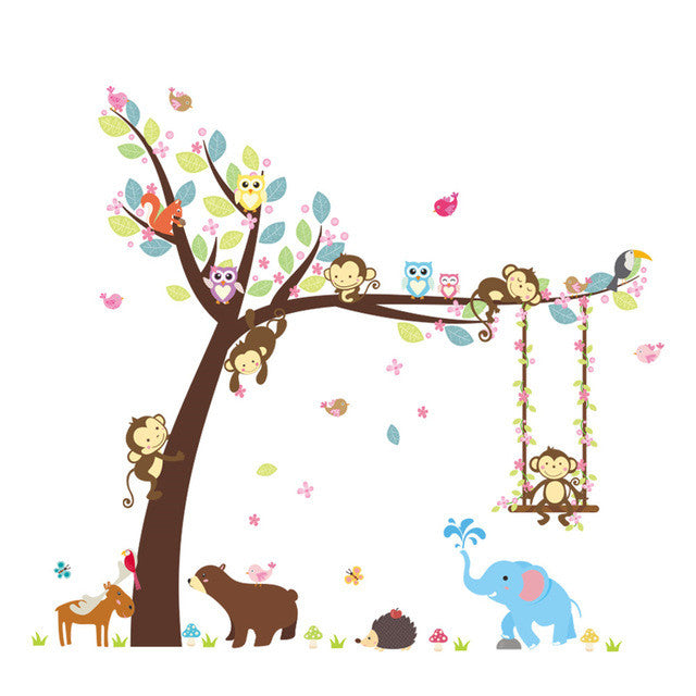 Woodland Animal Zoo Baby time vinyl decal wall sticker