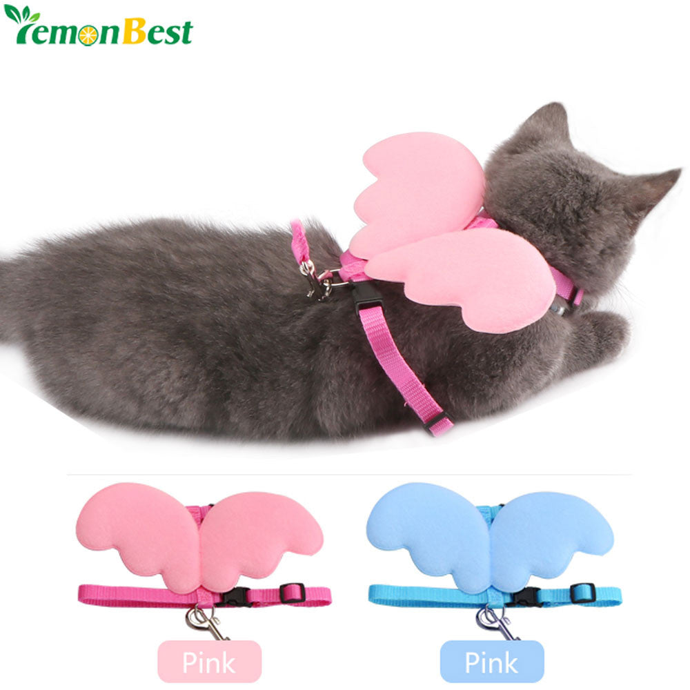 Pet Supplies Adjustable Dog Collars Dog Cat Traction Rope Puppy Pet Nylon Angel Wings Chest Straps Lead Leash Cute Cat Pet Leads