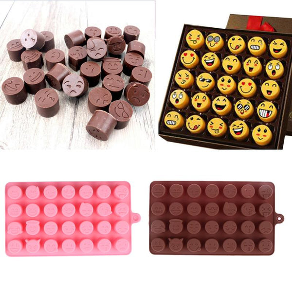 28-even Emoji Expression Silicone Chocolate Molds Smiling Face Shape Cake Decorating Tool Cookies Jelly Ice Mold
