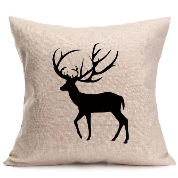 Christmas Deer Pillow Case Sofa Waist Throw Cushion Cover Home Decor