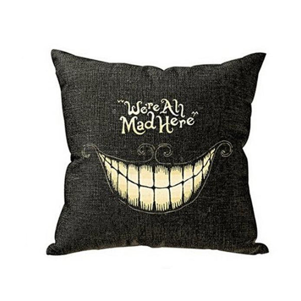 We are all mad here Alice in wonderland grey cushion cover