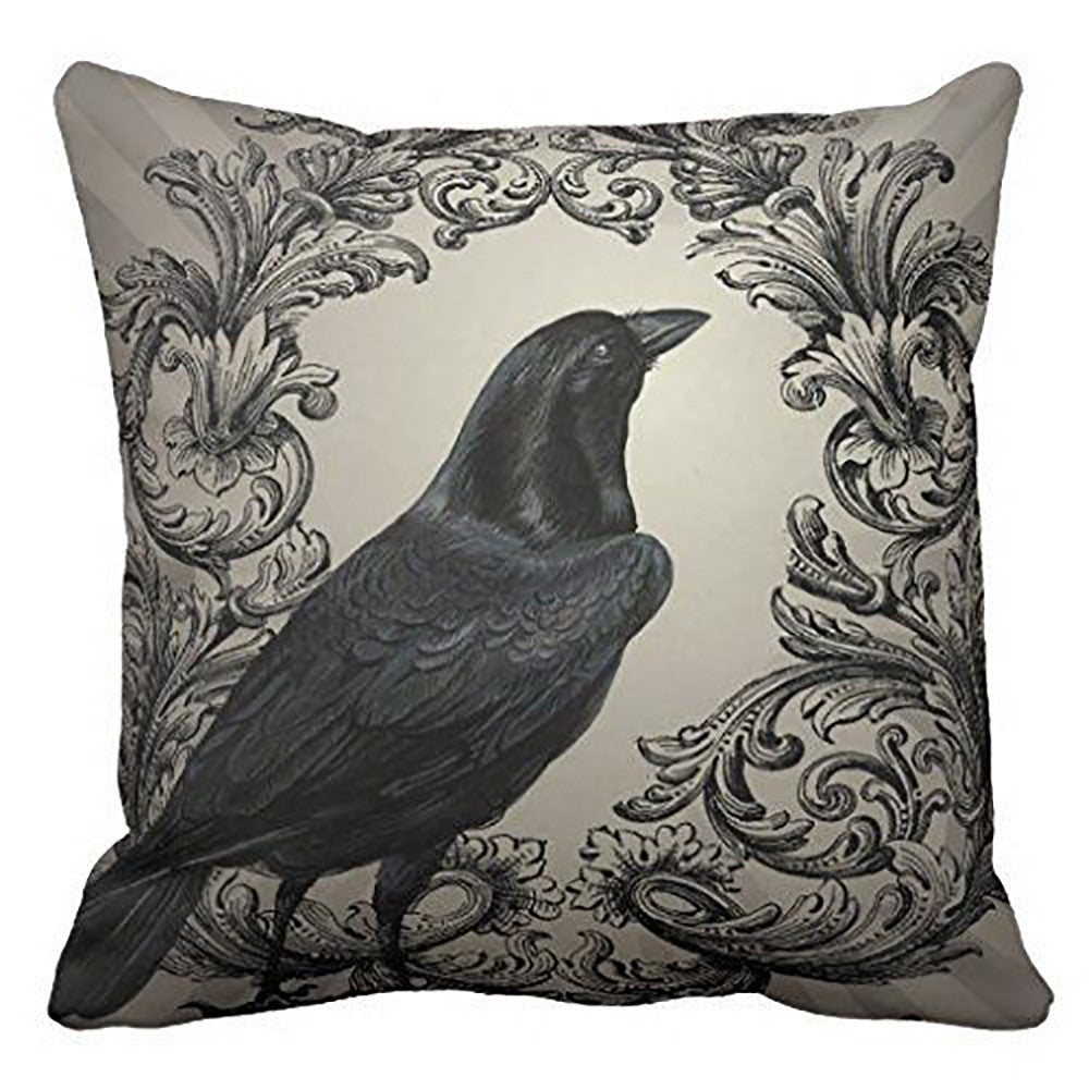 Crow Blackbird Vintage Cushion Cover