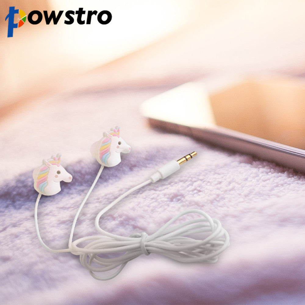 Powstro Cute Unicorns Cartoon Earphones Colorful Rainbow Horse In-ear Earphone 3.5mm Earbuds With Mic For Smartphone Kids Gifts