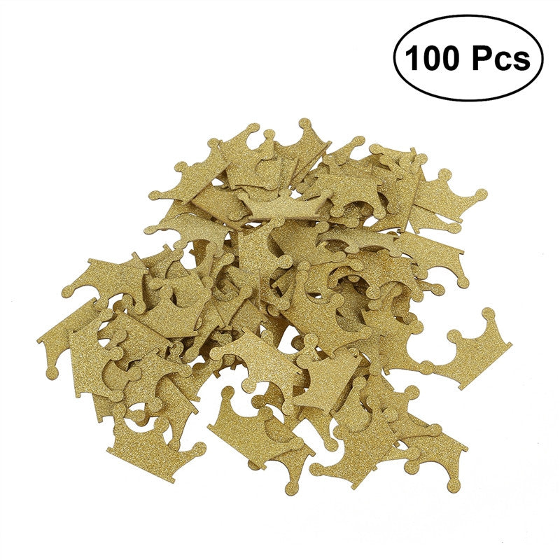100pcs DIY Double-sided Gold Glitter Crown Confetti for Wedding Birthday Party Baby Shower Cupcake Topper Decoration-selectperfection-SelectionPerfect
