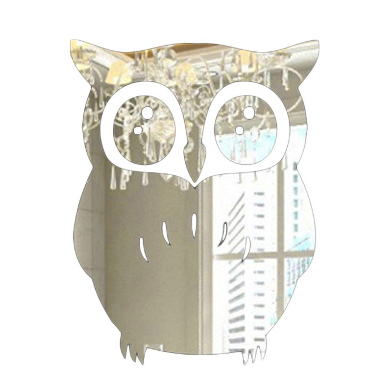 3D Wall Sticker Owl Mirror Stickers for Home Living Room Office Decor