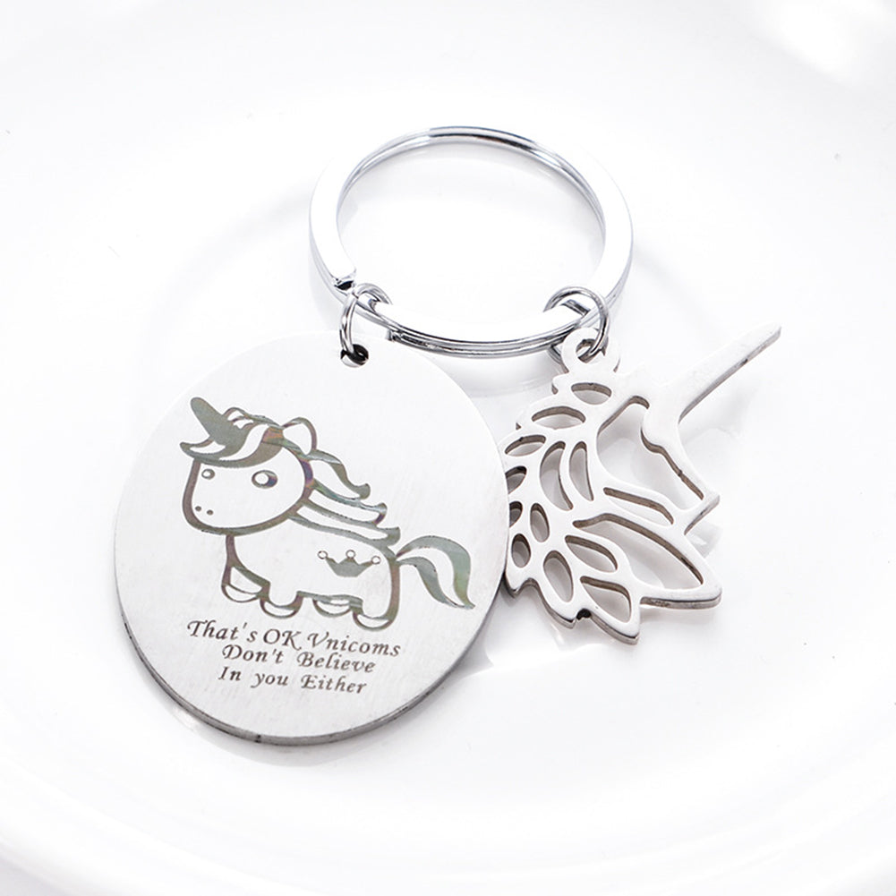 Unicorn Cute Keyring Stainless Steel