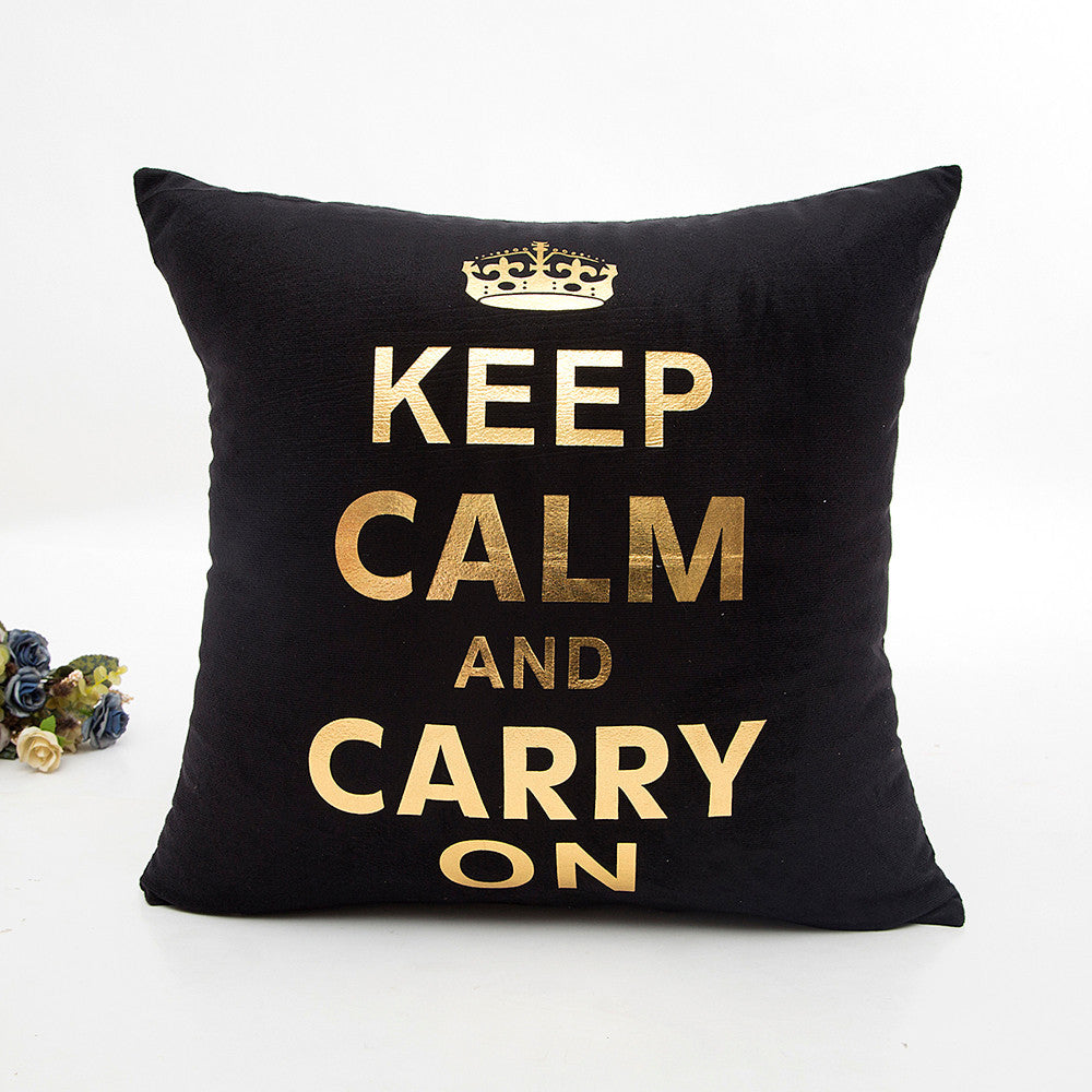 Gold Foil Keep Calm And Carry On Black Cushion Cover