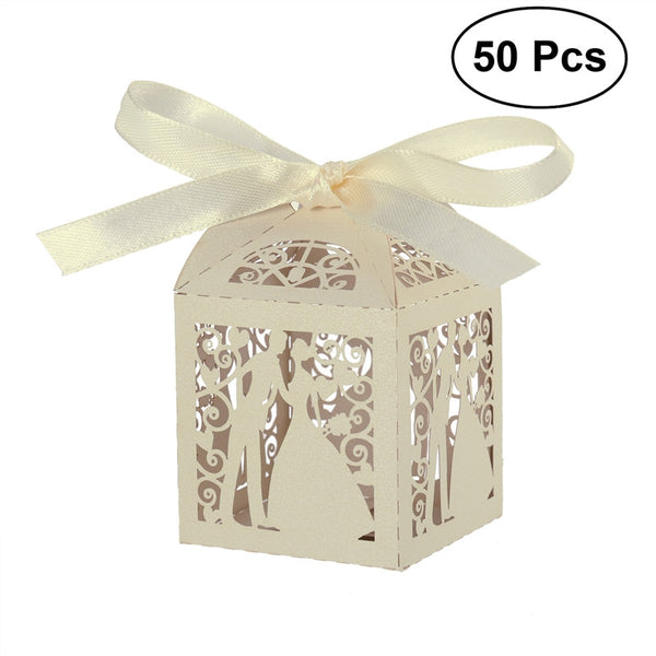 50pcs Couple Design Ribbon Cut Wedding Sweets Candy Gift Favour Boxes