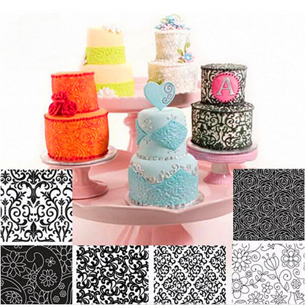 6 Floral Texture Sheet Cake Decoration