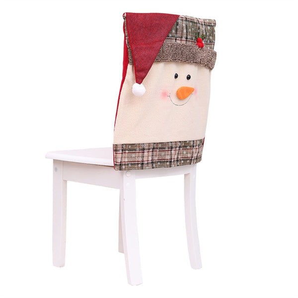 Snowman Christmas Chair Cover Mr Santa/Snowman eat Chair Case Slipcover Decor