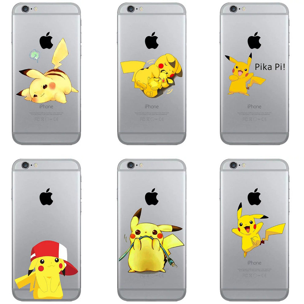 Pikachue Pocket Monsters Pokemons Go Character Yellow Soft Silicone TPU Case for iPhone 4 4S 5 5S SE 5C 6S 6 Plus