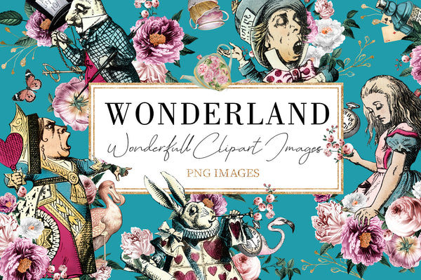 Alice In Wonderland Digital Download Package Images Elements Backgrounds