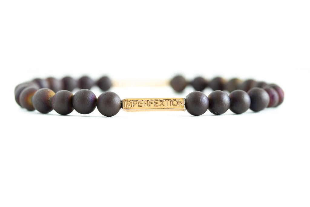 TIME-HONORED(2018 FALL SEASON) MATTE PURPLE DRUZY AGATE IMPERFEXTION BRACELET
