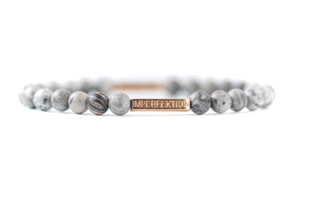 TIME-HONORED (2018 WINTER SEASON) MATTE GREY LEOPARD SKIN JASPER IMPERFEXTION BRACELET