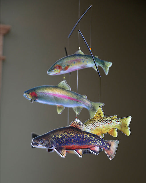 Trout Mobile. Five beautiful trout swim suspended from the mobile.
