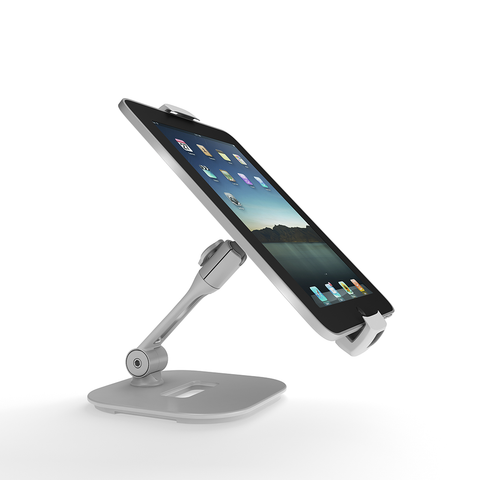 Universal weighted table holder for counter tops at trade shows and events.