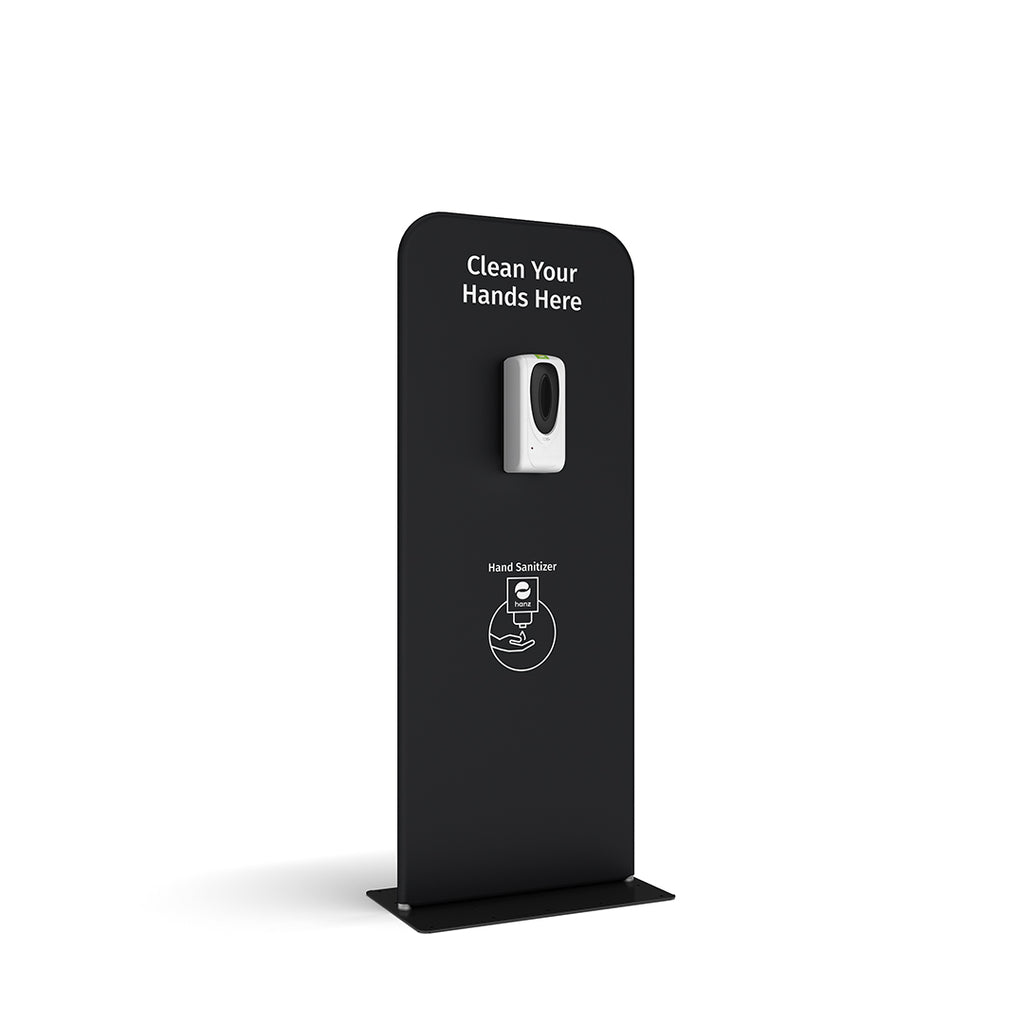 hanz automatic hand sanitizer dispenser with portable stand in black