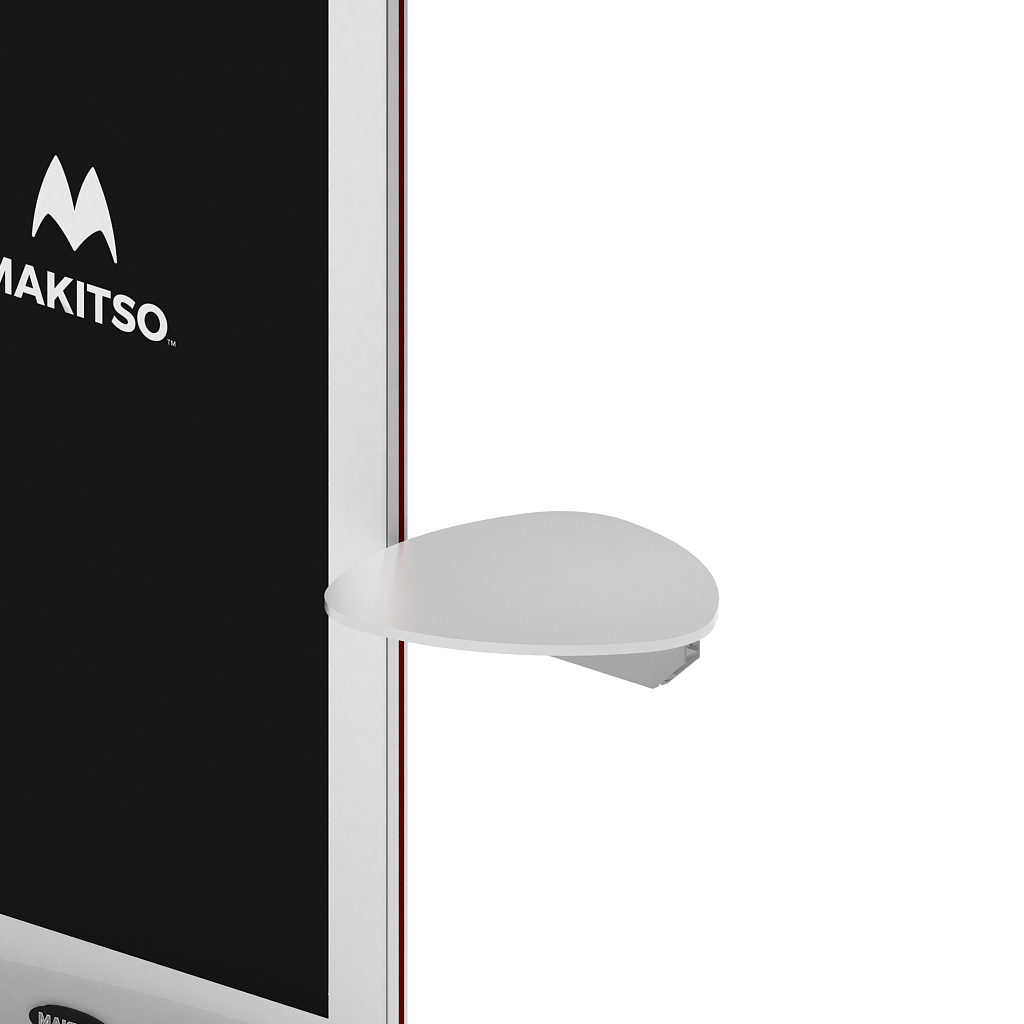 Makitso Blade Digital Signage Kiosk with triangular shelf
