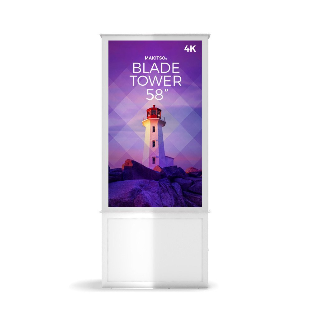 "Makitso Blade Tower 58"" Pro Digital Signage Kiosk in white"