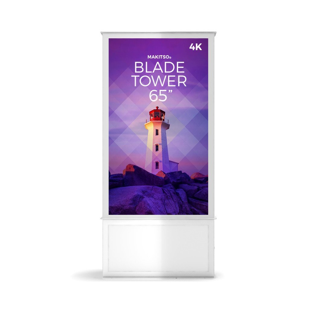 "Makitso Blade Tower 65"" Pro Digital Signage Kiosk in white"
