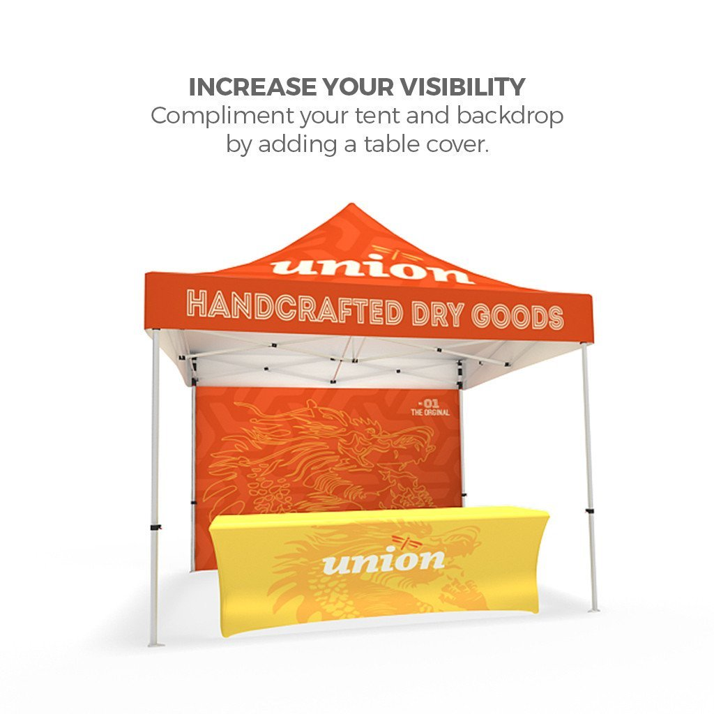 BrandStand® Outdoor Popup Canopy Tent 10ft with add on table cover