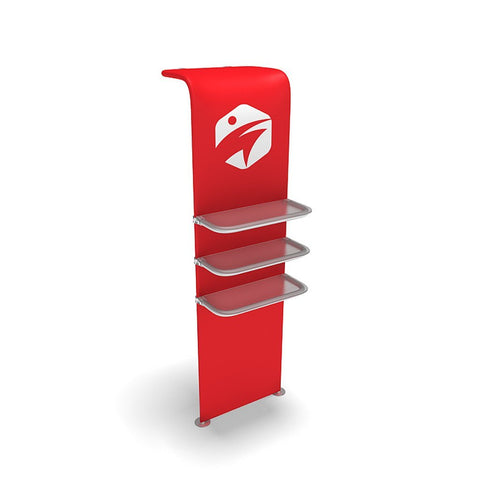 WaveLine® Waterfall Display Shelving for Trade Show Exhibits outside shelf and full graphic