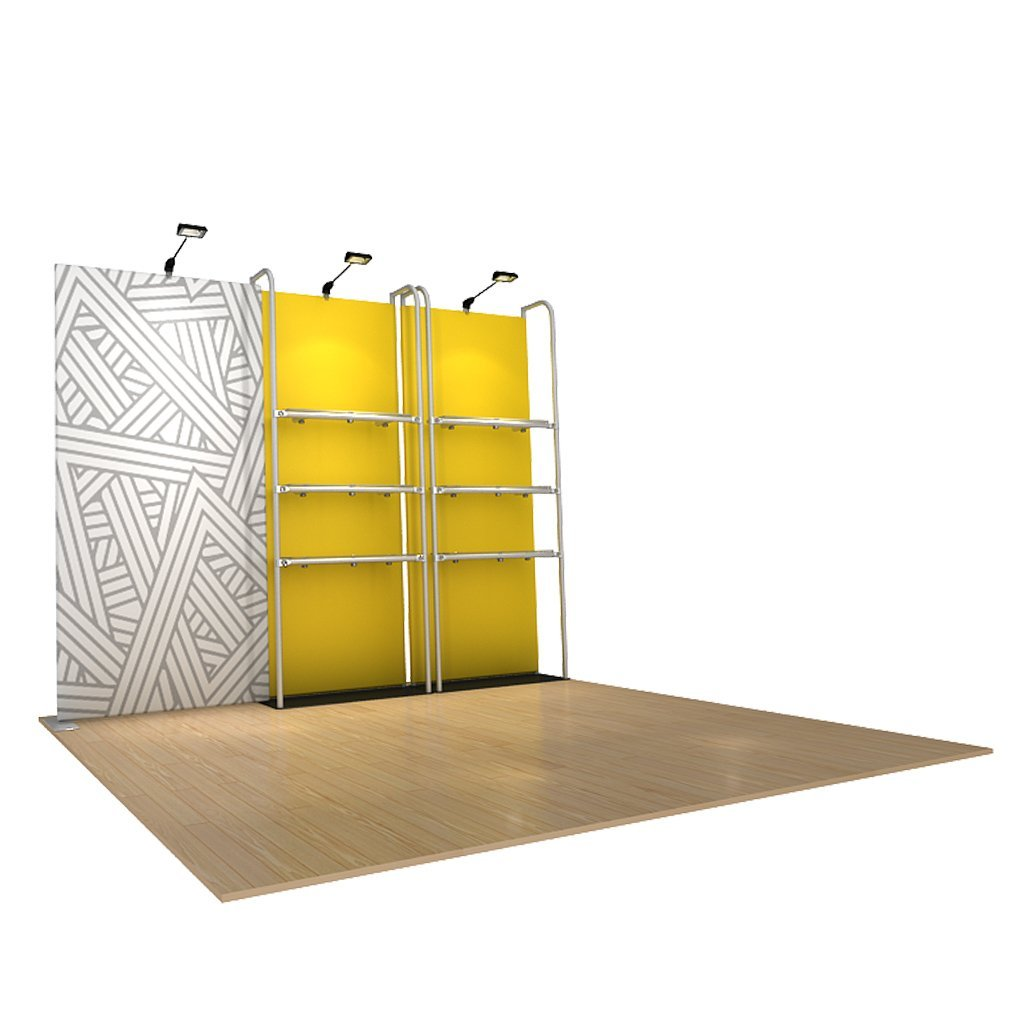 WaveLine® Merchandiser Retail Pop Up Store Display with Shelving side angle