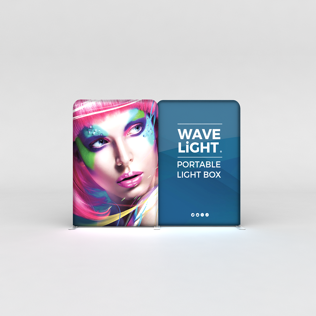 WaveLight® LED Backlit Tension Fabric Display 10ft for Trade Shows and Events - front view