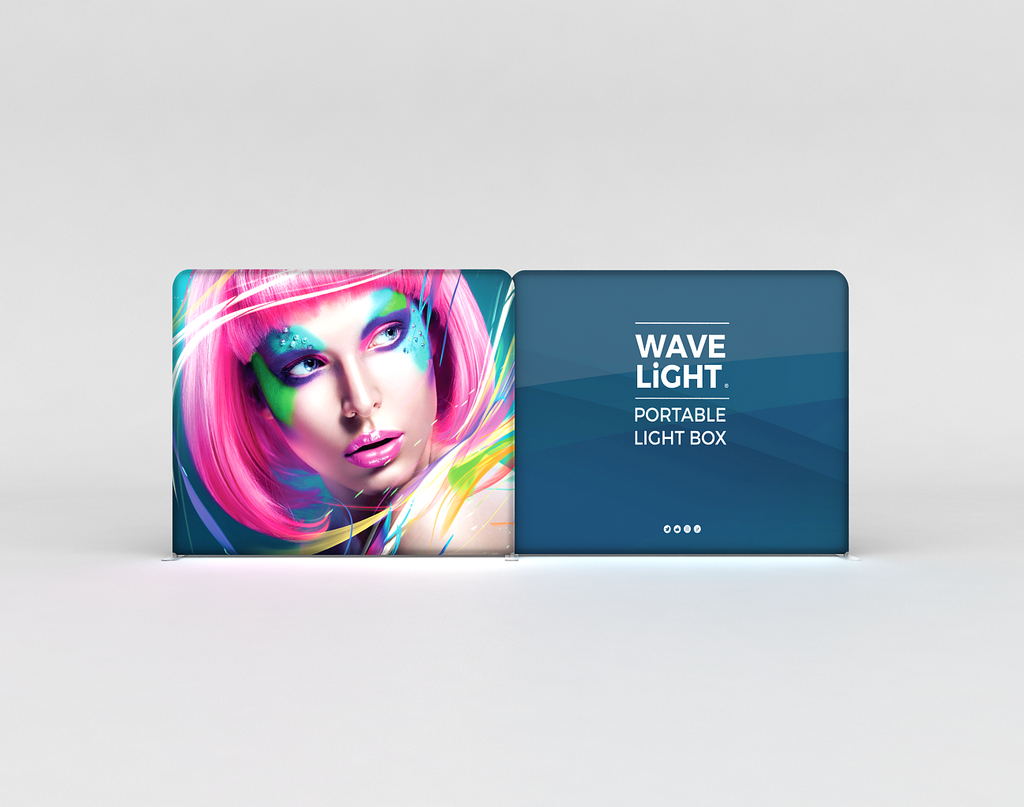 WaveLight® LED Backlit Tension Fabric Display 20ft for Trade Shows and Events - front view