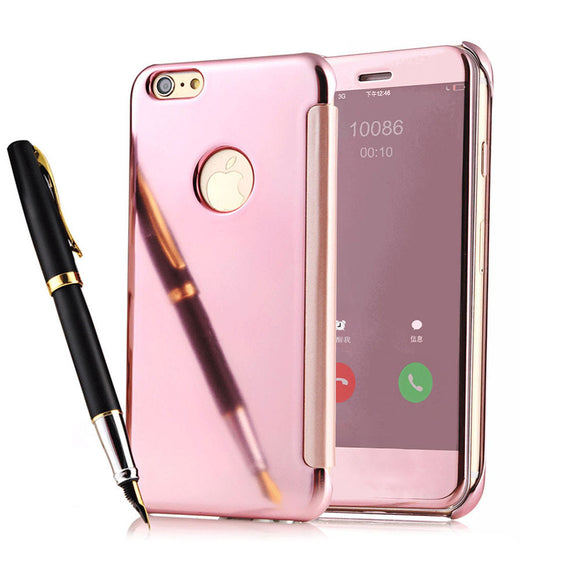 Deluxe Window Clean Clear View Mirror PU Leather PC Case For iPhone 5 5S SE 6 6S / Plus Luxury Hard PC Flip Cover 6 Plus Coque