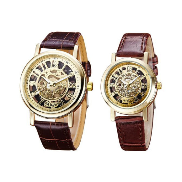 Classic Wrist Hollow Skeleton Mechanicaluple Watch Leather Strap Wrist Watch