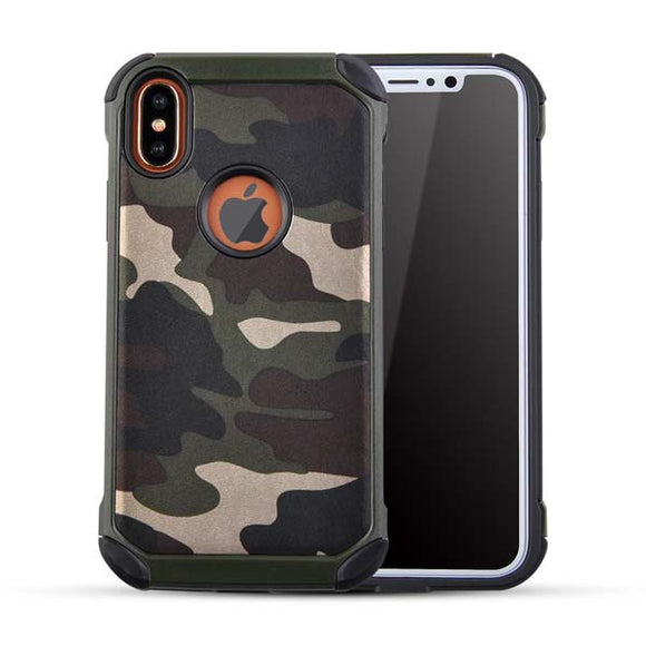 2 in 1 Army Camouflage Case For iphone X Shockproof Armor Cases Fashion Hybrid Hard PC + Soft TPU Protective Cover
