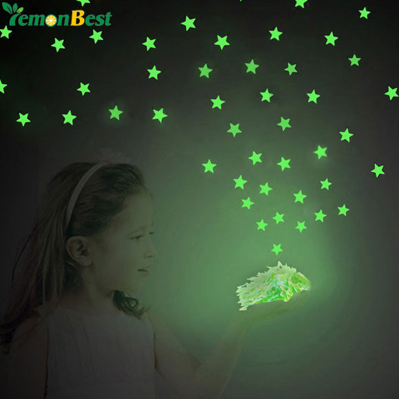 100PCS/Set Home Decor Wall Sticker Ceiling Glow In The Dark Luminous Stars Decal Wall Stickers For Baby Kids Bedroom Rooms Decor