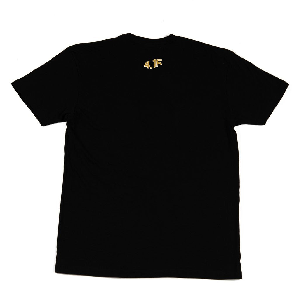 4.15-Logo-Shirt-Black-with-4.15-logo-in-Metallic-Gold-ink-on-back