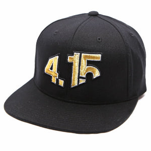 Black Snapback Cap with with raised 3D embroidered 4.15 logo on front in Gold thread color