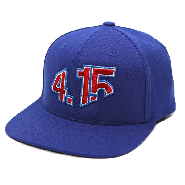 Blue Snapback Cap with with raised 3D embroidered 4.15 logo on front in Red thread color