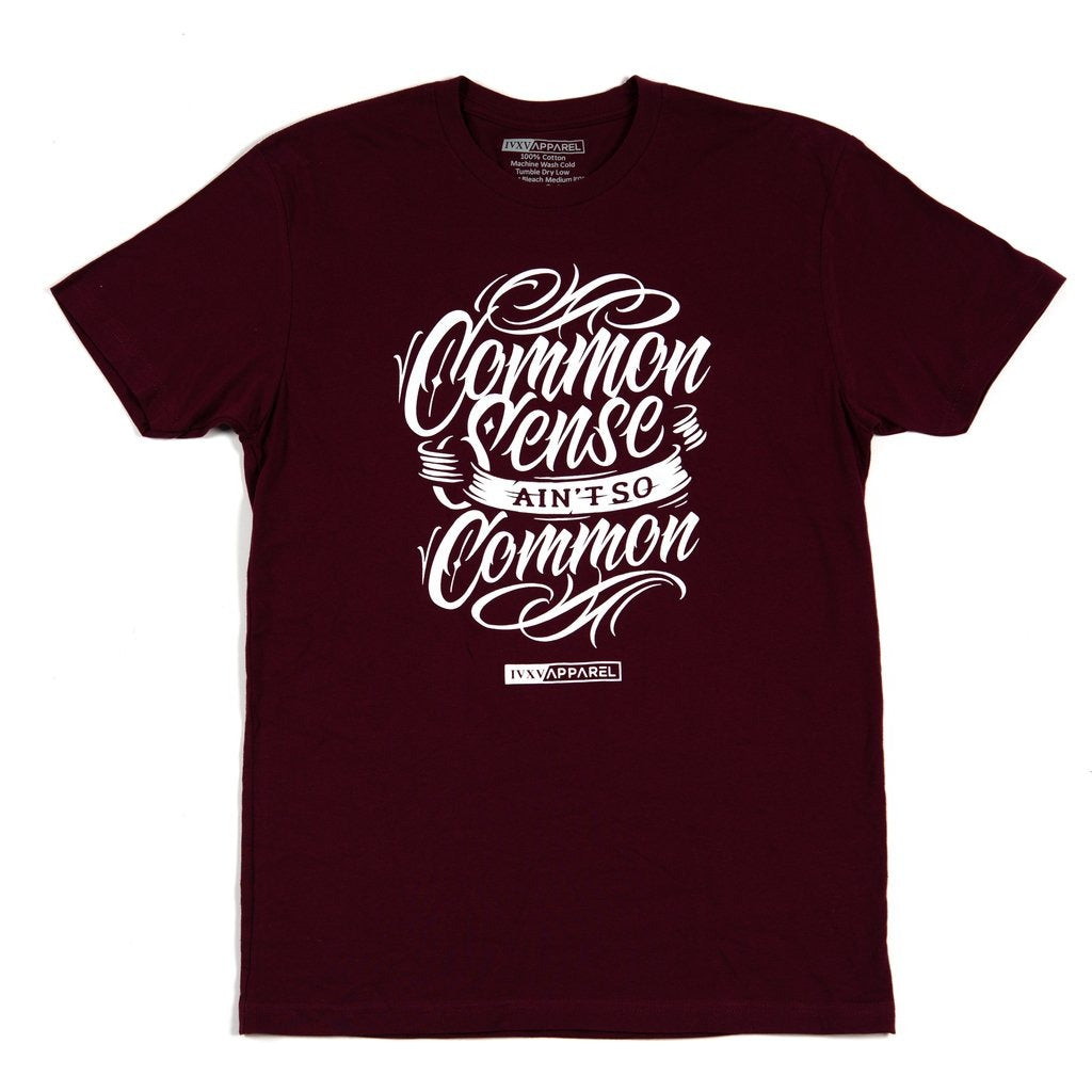 Common-Sense-Shirt-Maroon-With-White-ink-on-front