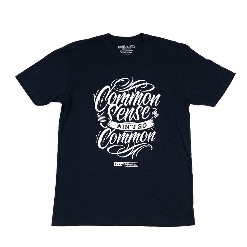 Common-Sense-Shirt-Navy-Blue-With-White-ink-on-front