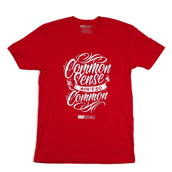 Common-Sense-Shirt-Red-With-White-ink-on-front