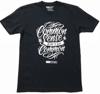 Common-Sense-Shirt-Black-With-White-ink-on-front