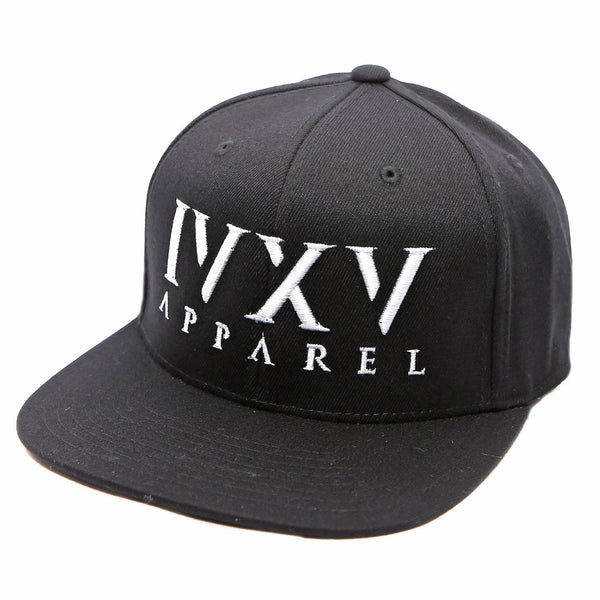 Black Snapback Cap with raised 3D embroidered IVXV logo in Grey
