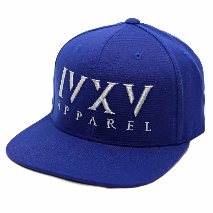 Royal Blue Snapback Cap with raised 3D embroidered IVXV logo in Grey