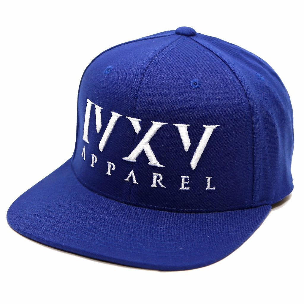 Royal Blue Snapback Cap with raised 3D embroidered IVXV logo in White