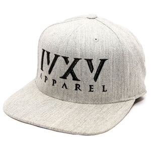 Heather Grey Snapback Cap with raised 3D embroidered IVXV logo in Black