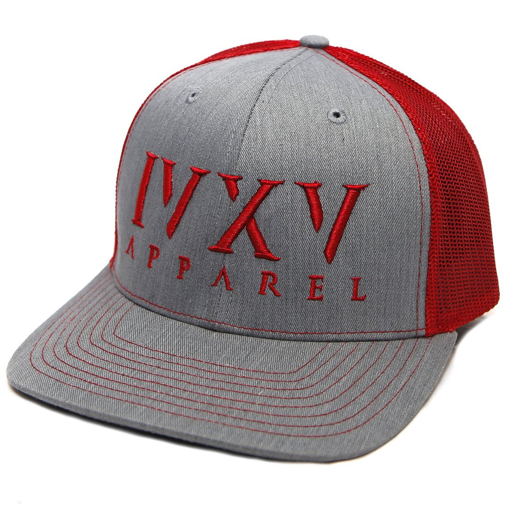 Trucker Cap with raised 3D embroidered IVXV logo on front. Gray with Red thread color