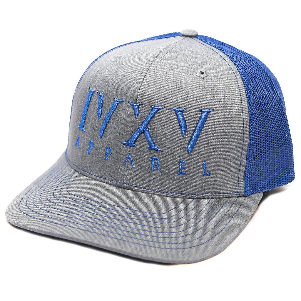 Trucker Cap with raised 3D embroidered IVXV logo on front. Gray with Royal Blue thread color