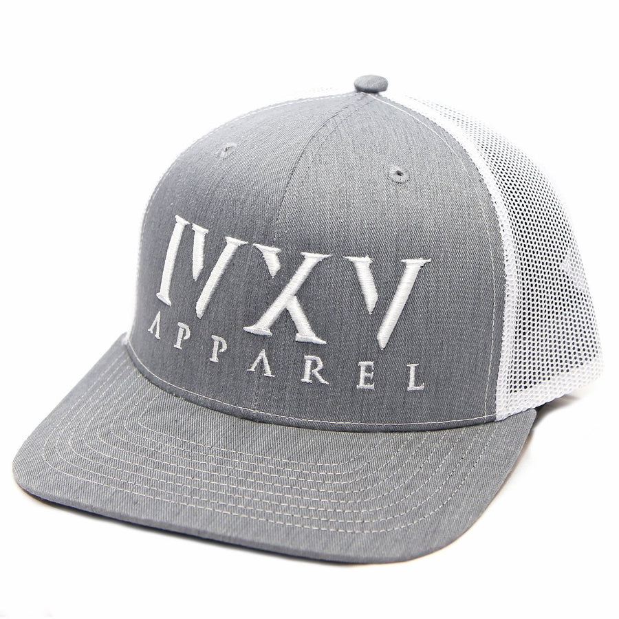 Trucker Cap with raised 3D embroidered IVXV logo on front. Gray with White thread color