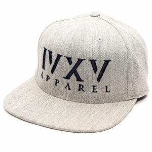Heather Grey Snapback Cap with raised 3D embroidered IVXV logo in Navy Blue