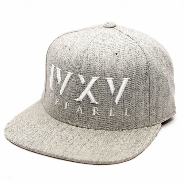 Heather Grey Snapback Cap with raised 3D embroidered IVXV logo in White